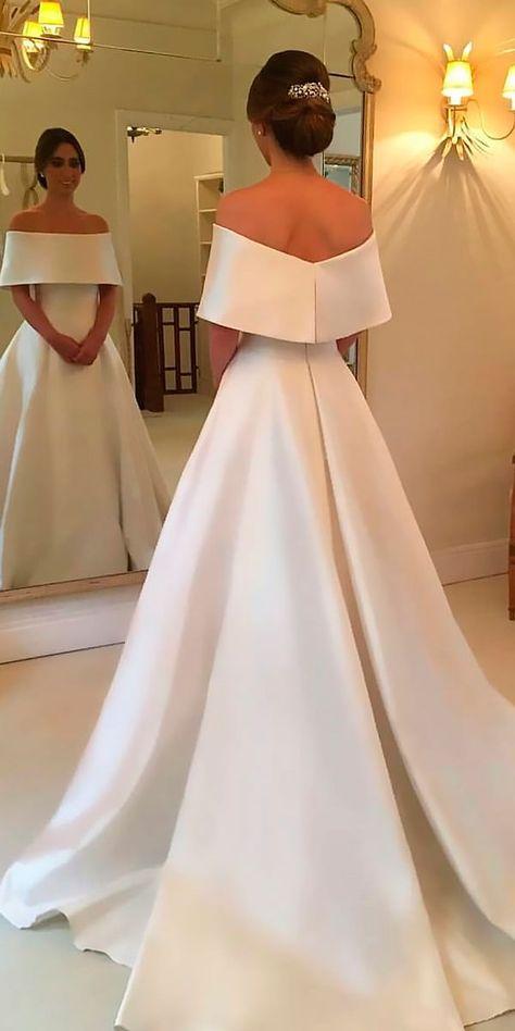 30 Simple Wedding Dresses For Elegant Brides ❤️ simple wedding dresses a line off the shoulder with train wanda borges ❤️ See more: http://www.weddingforward.com/simple-wedding-dresses/ #weddingforward #wedding #bride