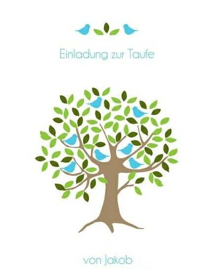 Einladung Zur Taufe Symbol Baum Von Kartenmacherei