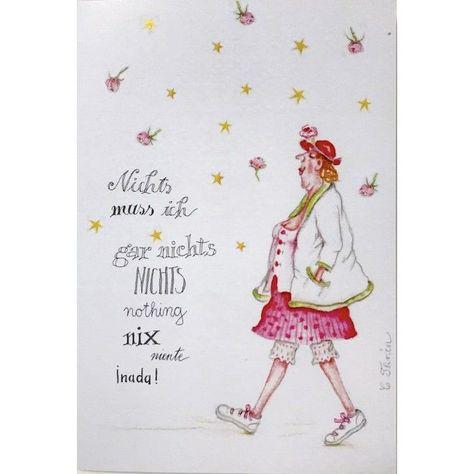 """Christina Thrän   Briefkarte """"Nichts muss ich, gar nichts, nichts nothing nix niente nada"""" - #Briefkarte #cartoon #Christina #gar #ich #muss #nada #Nichts #niente #nix #Thrän"""