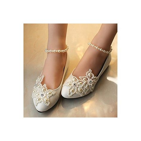23ea6ad869c6 White Flat Wedding Shoes Pearls Ankle Strap Bridal Shoes