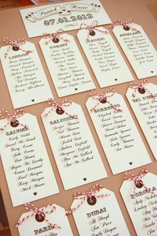 luggage tag escort cards table plan