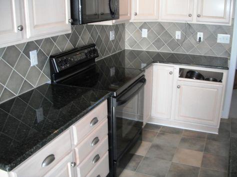 Kitchen,Daltile Granite Uba Tuba On White Cabinets With ...
