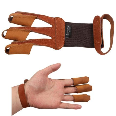 Three Finger Tab Guard Protector Glove Cow Leather Archery Shooting Hunting Bow
