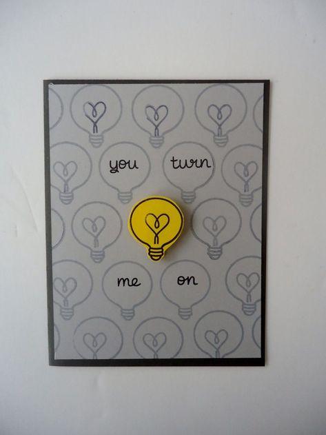 You turn me on card- Love Anniversary  Funny and sweet  Handmade light bulb h