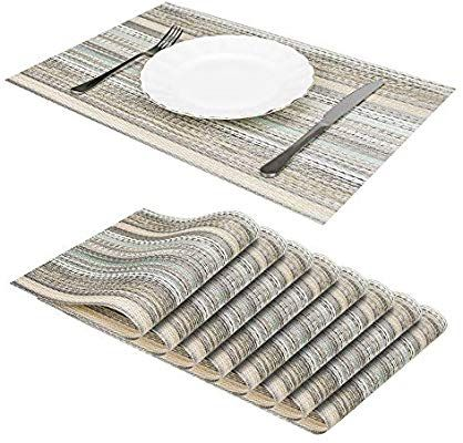 Jujin 17 7 Placemats Set Of 8 Non Slip Washable Pvc Heat Resistant Table Mats For Dining Table Beige Table Mats Placemats Heat Resistant
