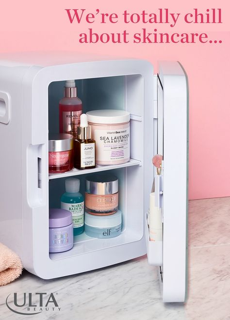 A Must-Have for Skincare Lovers! Teami Blends Skincare Beauty Fridge luxuriously chills your favorite products and helps extend their shelf life!
