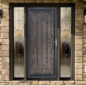 Grisham Palermo 36 In X 80 In Black Full View Wrought Iron Security Storm Door With Reversible Hingi Security Storm Doors Metal Screen Doors Iron Door Design