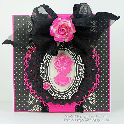 pink and black cameo card