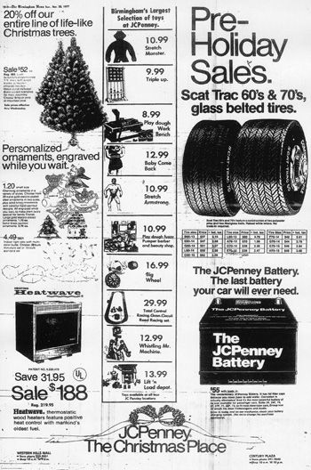 """Ahhh, for the days when Penney's sold more than just clothes.  But, honestly, the name """"JCPenney"""" just didn't carry the same clout as """"Sears"""" when it came to tires and batteries. BIRMINGHAM REWOUND remembers November 1977"""