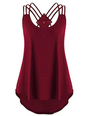 Plus Size Women Bandage Sleeveless Strappy Vest Lace Tank Tops T-Shirt Blouses