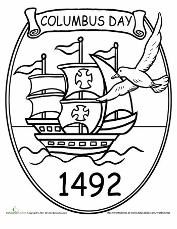 Columbus Day Coloring Page Columbus Day Homeschool Holidays Christopher Columbus