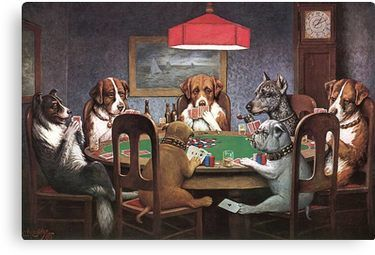 Dogs Playing Poker Canvas Print By Jimmywatt Dogs Playing Poker Poker Poker Quotes