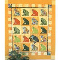 "Infrognito Quilt Pattern by Java House Quilts at KayeWood.com. Infrognito quilt pattern from Java House Quilts. The quilt pattern was designed by Karen Brow. The finished quilt measures 48"" X 56"". The frog blocks are colorful and sophisticated-traditional construction here- and the applique frog is something you just want to squeeze. http://www.kayewood.com/item/Infrognito_Quilt_Pattern/3715 $11.00"
