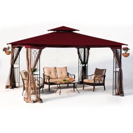 10 X 12 Regency Ii Patio Gazebo With Mosquito Netting Maroon Walmart Com Patio Gazebo Hardtop Gazebo Gazebo