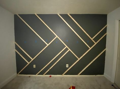 Give your wall some dramatic character with this easy to-do accent wall! Paint the wall I started by painting the wall and the baseboard with the color in… Bedroom Wall Designs, Accent Wall Bedroom, Accent Wall Designs, Wood Accent Walls, Bedroom Wallpaper Wall, Wood Feature Walls, Dining Room Feature Wall, Bedroom Paint Design, Painted Feature Wall