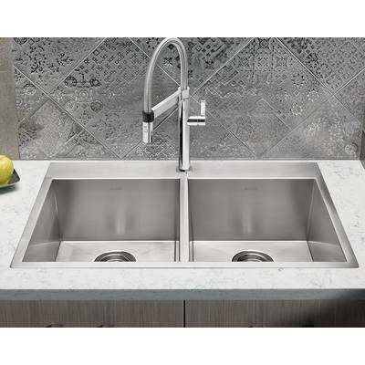 31 L X 20 W Double Basin Drop In Kitchen Sink With Basket Strainer Drop In Kitchen Sink Best Kitchen Sinks Kitchen Sink Faucets