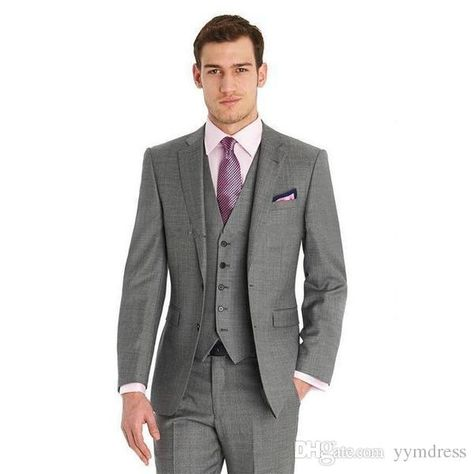 79e1b143bb9321 Grey Wool GroomTuxedos 2019 Two Buttons Notch Lapel Harringbone Groomsmen  Men Wedding Suits Men Suit For