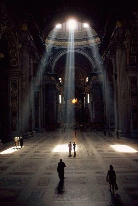 3 shafts of sunlight illuminate the Basilica & its mosaic floor in the Vatican, Rome, Italy (Albert Moldvay, National Geographic, Dec Visit Rome, Le Vatican, Place Of Worship, Kirchen, Light And Shadow, Art And Architecture, Renaissance Architecture, Amazing Architecture, Belle Photo