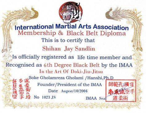 Fake Martial Arts Degree Black Belt Certificate Training