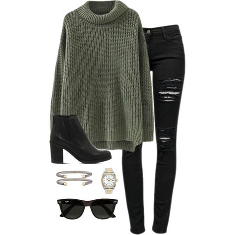 to shop this Look! Chunky olive sweater paired with distressed black jeans, black booties and on trend accessories for a put together fall and winter outfit. Fall Winter Outfits, Autumn Winter Fashion, Black Jeans Outfit Winter, Outfits With Black Jeans, Green Sweater Outfit, Black Ripped Jeans Outfit, Black Booties Outfit, Winter Sweater Outfits, Olive Green Sweater