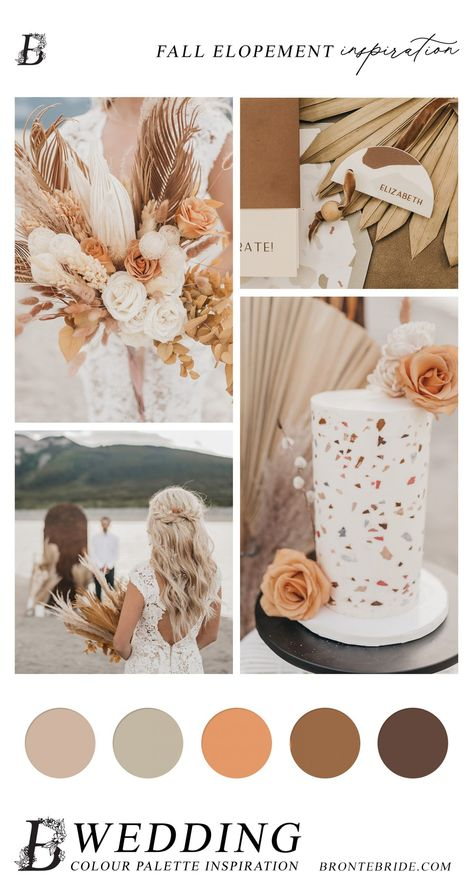 Modern Elopement - Wedding Colour Palette Inspiration #elopementinspiration #modernelopement #rockymountainwedding #rockymountainelopement #bohowedding #bohoelopement #bohocolourpalette #neutralweddingpalette #neutralweddingcolours #bohoweddingcolours #bohopalette #driedpalms #driedflorals #bohemianweddingstyle