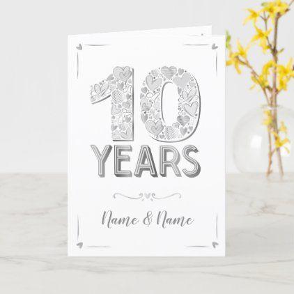 10 Years Anniversary Card Zazzle Com Anniversary Cards 10 Year Anniversary 10th Anniversary Gifts