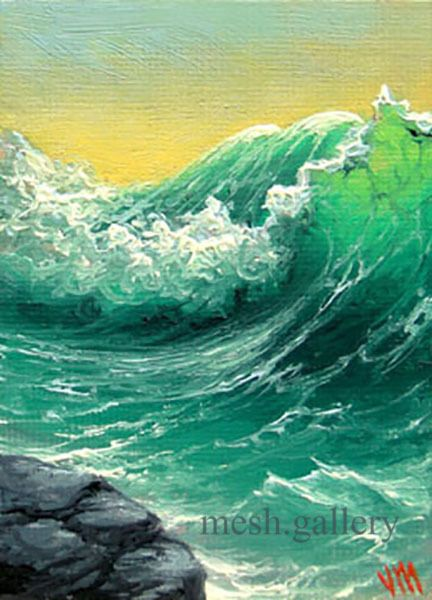"""""""Crashing Wave"""". I Studied in Moscow's Institute of Folk Art and later immigrated to the United States. Many paintings were commissioned by personal requests. This art print represents inspirational and dreaming view of the stormy sea.   eBay!"""