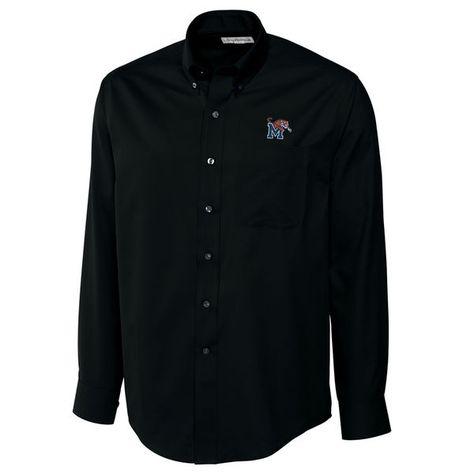 Memphis Tigers Cutter & Buck Big & Tall Epic Easy Care Fine Twill Long Sleeve Button-Down Shirt - Black - $94.99