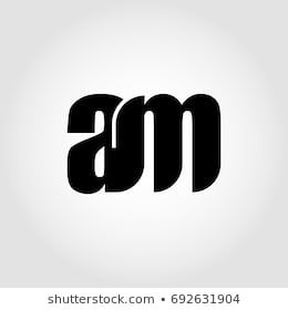 Am Letter Logo Design With Black Circle And Serif Font Vector