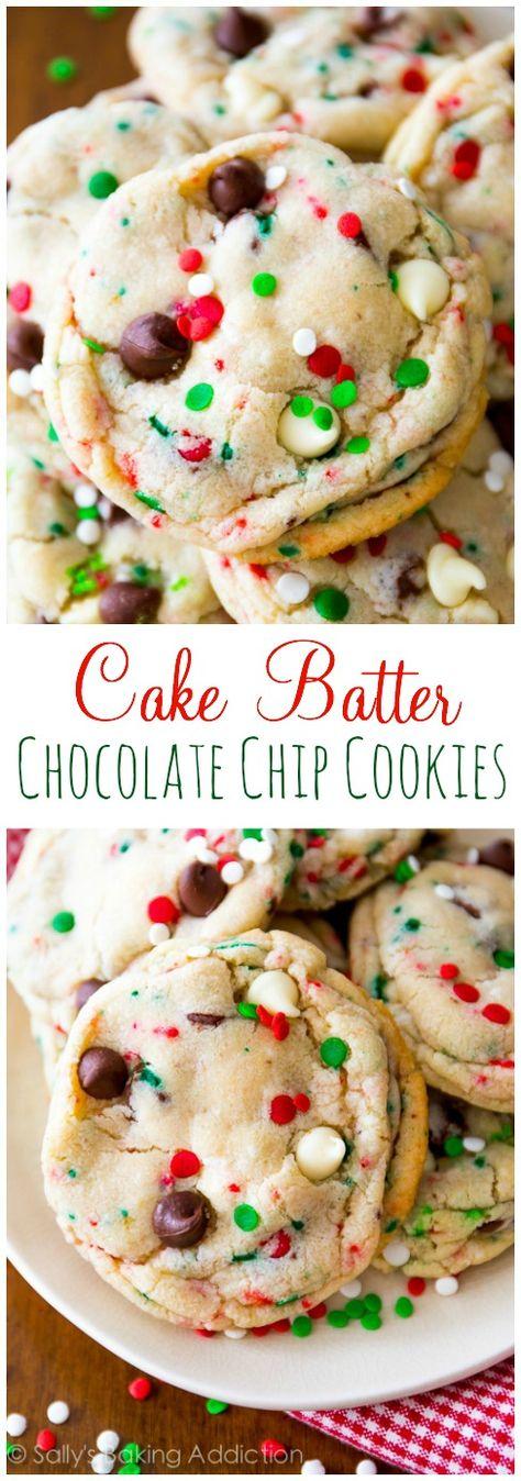 Christmas Cake Batter Chocolate Chip Cookies Recipe sallysbakingaddiction.com