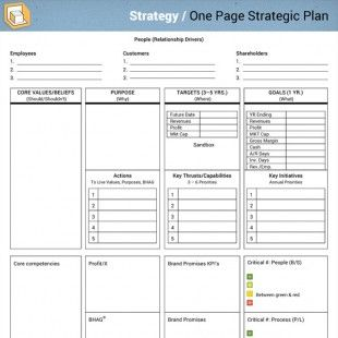 Strategy One Page Strategic Plan Strategic Planning