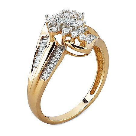 Ladies Modern 10K Yellow Gold CZ Gemstone Cluster Split Shank Cocktail Ring