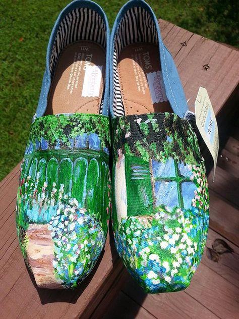 Entrada Floral pintado a mano sobre lienzo clásico TOMS ...