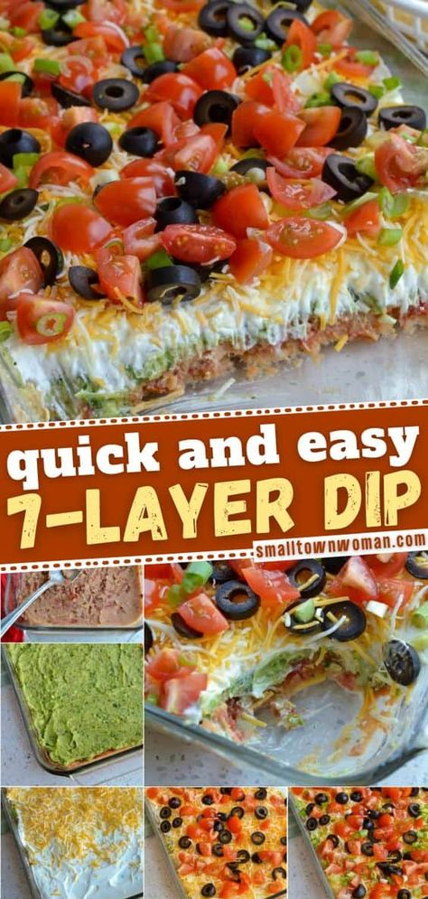 The ultimate 7-layer dip recipe for your parties! This easy appetizer for a crowd is made with refried beans, avocadoes, sour cream, cheddar, Monterey Jack, black olives, tomatoes and green onions combined with a few spices and herbs. Save this party food!