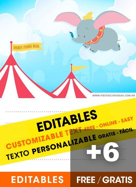 6 Tarjetas De Cumpleaños De Dumbo Gratis Para Editar