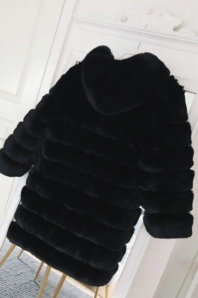Blake Faux Fur Long Jacket With Hood Black Americandreams