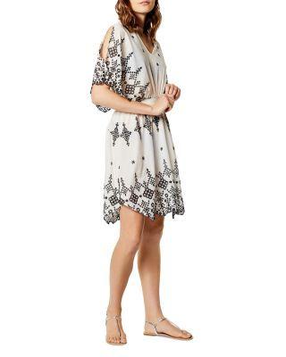 Karen Millen Eyelet Dress Swim Cover Up Black White Karen Millen Dresses