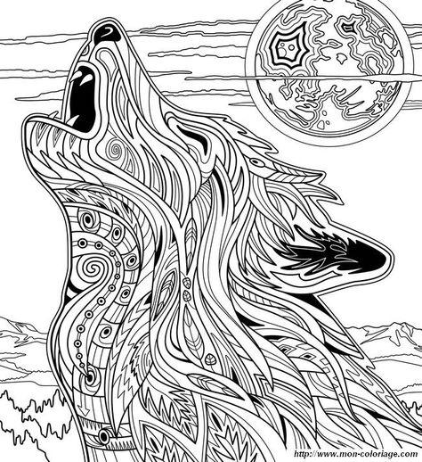 Coloriage De Pour Adultes Dessin Loup Qui Hurle En Pleine Lune A