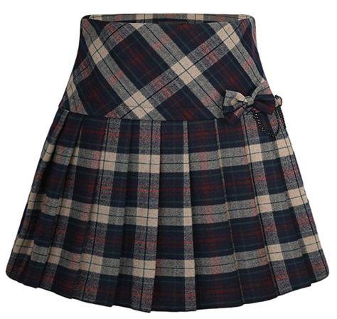 Chouyatou Womens A-Line Plaid Wool Blend Pleated Skirt Side Zipper