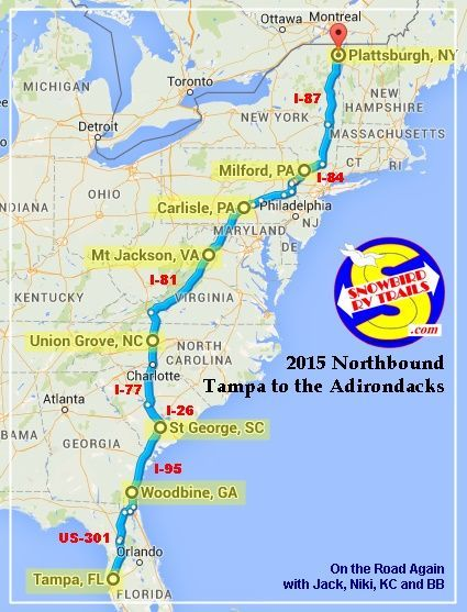 Summary: A Por Snowbird RV Route Florida to Upstate NY ... on route maps east coast usa, highway map of eastern usa, route of i 95,