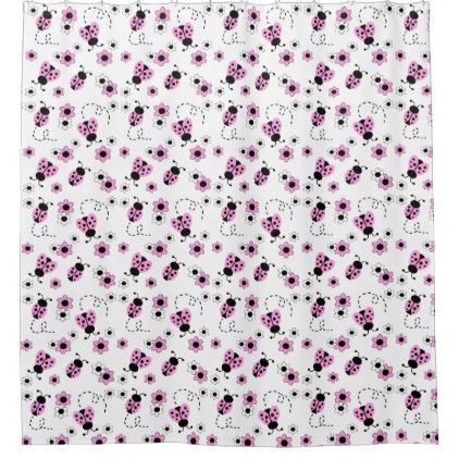 Pink Ladybug Floral Kids Bathroom Shower Curtain Zazzle Com Kids Bathroom Shower Kids Bathroom Shower Curtain Bathroom Shower Curtains