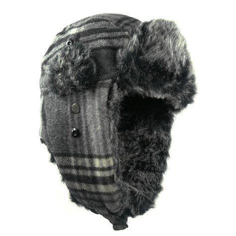 d5c3c8497acc18 Winter Warm Earflap Bomber Hats Plaid Woolen Caps Men Women Russian Trapper Hat  Aviator Trooper Earflap Snow Ski Hat Cap