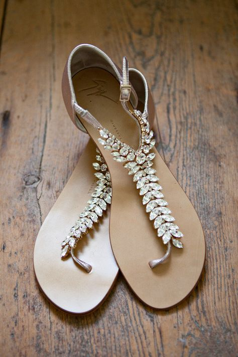 For those blessed with hieght, or who plan on doing a lot of dancing for the wedding - here's your answer. Flat, jeweled, one-of-a-kind #weddingshoes! ❥