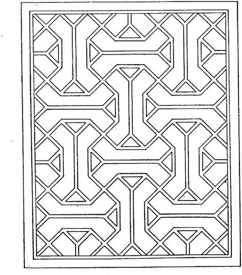 Free printable coloring pages for adults! Geometric patterns - copy coloring pages of 3d shapes