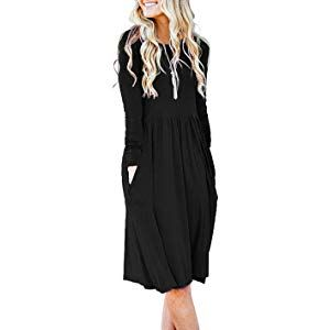 AUSELILY Womens Long Sleeve Pockets Empire Waist Pleated Loose Swing Casual Flare Dress