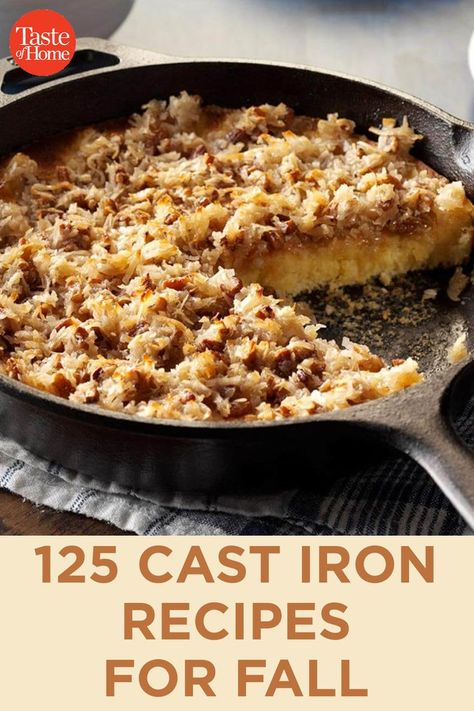 cooking recipes cast iron skillet 125 Cast Iron Recipes for Fall Cast Iron Skillet Cooking, Iron Skillet Recipes, Cast Iron Recipes, Cooking With Cast Iron, Skillet Dinners, Dutch Oven Cooking, Dutch Oven Recipes, Cooking Recipes, Cast Iron Dutch Oven