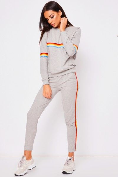 Womens Loop Back Ladies Stripe Jogging Set Fabric Track Suit In 3 Colors