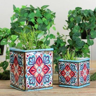 Melrose 6 5 Ceramic Square Indoor Pot Planters 2pc Blue Red Painted Plant Pots Green Flower Pots Small Flower Pots