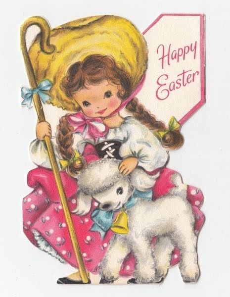 Vintage Greeting Card Easter Cute Little Girl Sheep Lamb