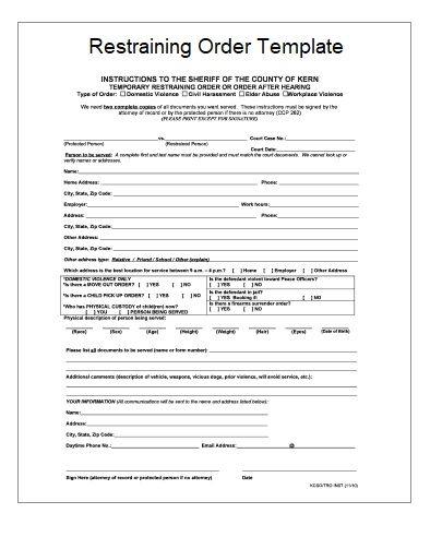2 Restraining Order Templates Free Printable Word Excel